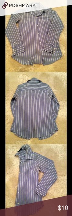 Blue Blouse Bitten. Blue and White Striped Button Down Top. Gently Worn. Size Extra Small. Bitten Tops Button Down Shirts
