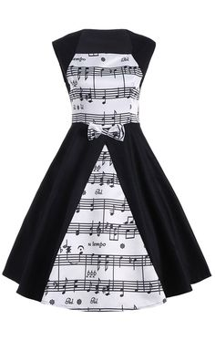 Musical Notes Printed Sleeveless Vintage Dress - White And Black - 2xl