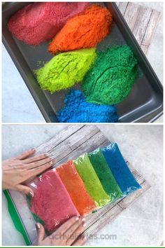 Heres a fun and simple video on how you can make edible glitter at home use this montessori activity for fun setups and activities with toddlers and preschoolers and for kids 1 hour family date ideas Color Activities For Toddlers, Preschool Learning Activities, Sensory Activities, Infant Activities, Family Activities, Valentine's Day Crafts For Kids, Valentine Crafts For Kids, Toddler Crafts, Glitter Projects For Kids