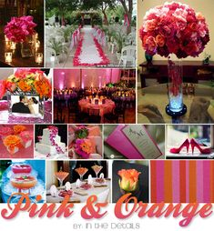 orange and pink wedding. Love
