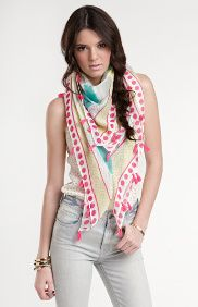 like the big colorful scarf with that, makes a big statement :)