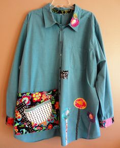 Large  XLarge Plus Size Smock/Shirt OOAK  Green/Blue by upCdooZ, $52.00
