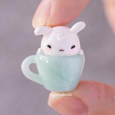 Sleepy bunny in a cup polymer clay charm Fimo Kawaii, Polymer Clay Kawaii, Kawaii Crafts, Kawaii Diy, Polymer Clay Charms, Polymer Clay Projects, Polymer Clay Creations, Diy Clay, Polymer Clay Art
