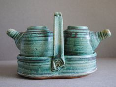 Oil and Vinegar Set Handmade Clay by JohnMcCoyPottery on Etsy, $65.00