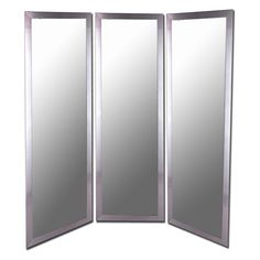 Royal Stainless Silver Full Length Free Standing Tri-Fold Mirror - 66W x 70H in. - 6707-PMRD