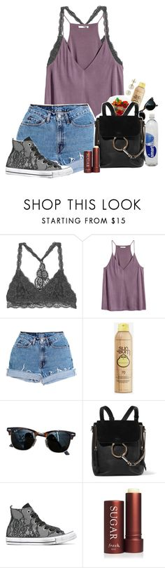 """""""Day 2 \\ Touring The City"""" by xomadibbyyy ❤ liked on Polyvore featuring Levi's, Sun Bum, Ray-Ban, Chloé, Converse, Fresh, Lord & Taylor and macks2k17summacontest"""
