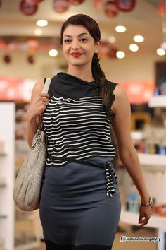 Kajal Aggarwal Sexy Outfits, Casual Outfits, Most Beautiful Indian Actress, South Indian Actress, Bollywood Actors, Indian Beauty, Indian Actresses, Leather Skirt, Hot Girls
