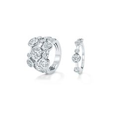 'Raindance': ring with 14 round brilliant cut diamonds, £68,000. Half-hoop ring with five diamonds, £5,500. http://www.boodles.com/collections/raindance.html