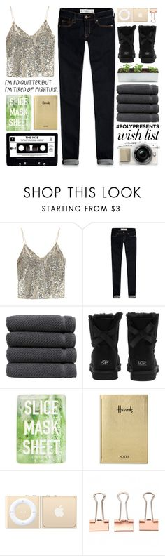 """#678: PolyPresents: Wish List"" by mayblooms ❤ liked on Polyvore featuring Alice + Olivia, Abercrombie & Fitch, Linum Home Textiles, UGG Australia, Topshop, Harrods, contestentry, newyear and polyPresents"
