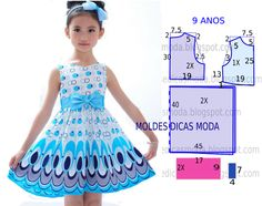A pedido de uma seguidora hoje vou abordar o molde de vestido para menina com idade de 9 anos. A ilustração do molde não tem valor de costura tem que ser acrescentado. Vestido para menina tamanho 9 an