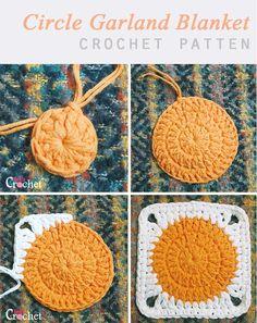 Crochet Circle Pattern, Crochet Motifs, Crochet Circles, Granny Square Crochet Pattern, Crochet Blanket Patterns, Crochet Stitches, Free Crochet, Knitting Patterns, Granny Square Tutorial