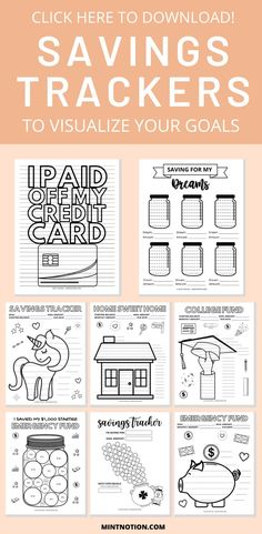 This printable visual savings tracker will help you track your progress and reach your savings goals and sinking funds faster. Color in the worksheet.