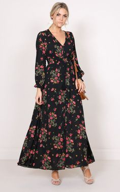 maxi, dress, black, floral, showpo