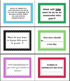 Teachingisagift: Back to School Question Activity Using Post-Its