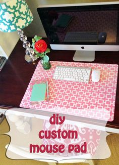 Such a great idea! I have so much scrap fabric that would work, too! A Little Tipsy: Custom Desk Pad