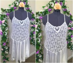 """in love with this sweet lacey delicate lil nightie  2XL for my plus size babes, 40"""" bust unstretched, but could probably fit 4 more inches comfortably  1980s and new with original tags  just a side note, I always have plus size vintage available and if you don't see your size on the etsy shop, you can message me and I'll add some for you. I have hundreds of pieces of lingerie and probably have something you'd love at any size  etsy vintage pastel goth boho floral flower sheer lace fai"""