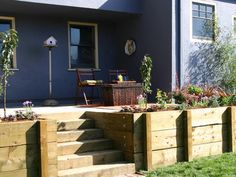 retaining wall with permanent stairs for under the deck