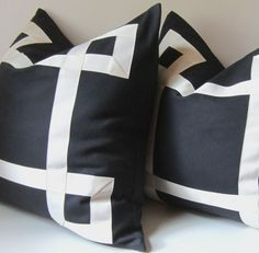 Black and Ivory (or white) Pillow Cover - Sizes 19 to 26 inch - Decorative Pillow - Ribbon embellishment - euro sham - made to order