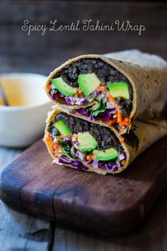 Healthy EASY Lunch - Spicy Lentil Wraps with avocado, carrots, cabbage and Spicy Tahini Sauce - Vegan and Gluten free! | www.feastingathome.com