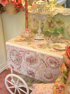Mosaic Tea cart from Nancy at Romancing The Rose Studio by mylulabelles, via Flickr Shabby Chic Cottage  Roses Pink