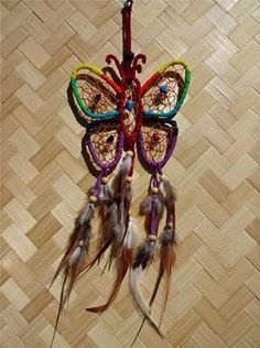 STUNNING  RAINBOW BUTTERFLY DREAM CATCHER WITH BEAUTIFUL ASSORTED  FEATHERS