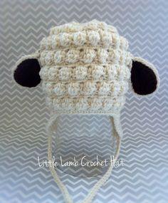 Little lamb  Crochet Hat with Earflaps. Girl crochet hat. Boys crochet hat. Baby Hat
