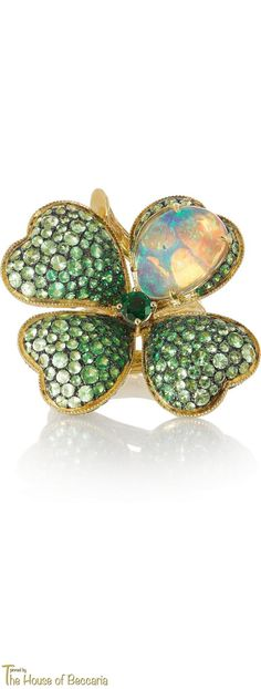 ~Lydia Courteille Four Leaf Clover 18-karat gold, opal and tsavorite ring   The House of Beccaria