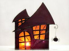 e7f6c7e5e Halloween Decoration Stained Glass Candle Holder Large Haunted House Purple  Orange