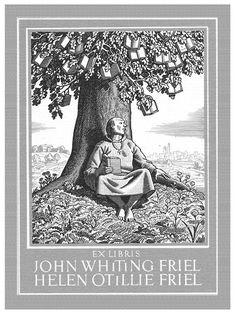 Rockwell Kent -  Bookplate of John Whiting Friel and Helen Otillie Friel, 1953.