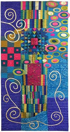 """""""Inspired by Klimt"""" by Janet McCallum.  Quilt Fest 2015.  Contemporary Quilt (UK)."""