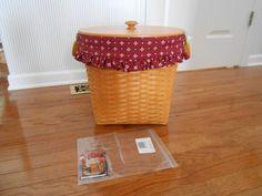 Longaberger Classic Stain2003 Medium Oval Waste Basket, Lid, Prot.OE Liner MINT!