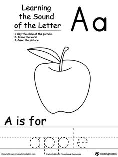 Learning Beginning Letter Sound: A: Learn the sound of the letter A by saying the name of the picture and then tracing the word. This printable worksheet is perfect for children to associate the alphabet letters with sounds.