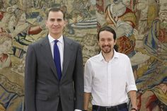 Don Felipe junto a Pablo Iglesias Turrión, de Podemos (PODEMOS) Palacio de La Zarzuela. Madrid, 22.01.2016
