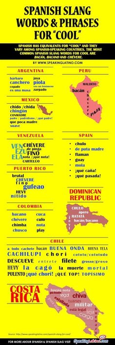 "#INFOGRAPHIC Spanish Slang for COOL: 85 Words and Phrases | Spanish has equivalents for ""cool"" and they vary among countries. Here I have grouped a couple of examples from Argentina, Chile, Colombia, Costa Rica, Dominican Republic, Mexico, Peru, Puerto Rico, Spain and Venezuela. The most common Spanish slang words for cool are bacán, bacano and chévere. Via http://www.speakinglatino.com/spanish-slang-for-cool/"