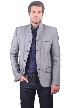 https://www.cityblis.com/5712/item/15860   5347 - $300 by RNT23 Jeans     RNT23 JEANS Men's Leather Trim Symmetric Blazer. Modern, fitted 5-button closure. Stand-up collar, trim detail flap pockets on the sides. Trim detail ticket pockets on the chest and side. Made in Turkey. Dry Clean. Hand Finished.