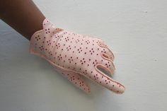 vintage gloves   1950s gloves   pink eyelet gloves   formal gloves   evening gloves   medium / size 7   The Brandy Eyelet Cotton Gloves by VivianVintage8 on Etsy