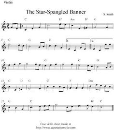 Free Sheet Music Scores: The Star-Spangled Banner, free easy violin sheet music notes-the chords work well for guitar too. Easy Violin Sheet Music, Trumpet Sheet Music, Clarinet Sheet Music, Violin Music, Sheet Music Notes, Music Sheets, Violin Instrument, Piano Songs, Guitar Art