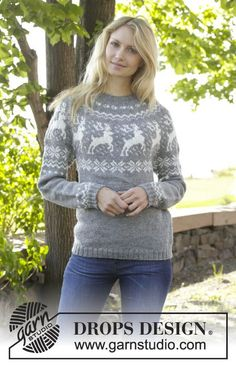 "Silver Stag - Knitted DROPS jumper with round yoke, reindeer pattern, worked top down in ""Karisma"". Size: S - XXXL. - Free pattern by DROPS Design"