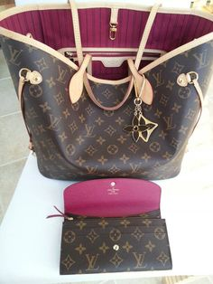 louis-vuitton-neverfull-mm-shoulder-bag-brown-fuchsia-interior-Monogram-FREE-ship-Like New