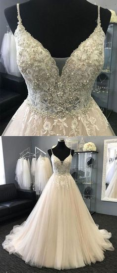 spaghetti straps wedding dresses, bridal gowns with appliques, bridal gowns with pearls