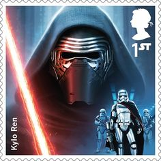 A Royal Mail stamp featuring Kylo Ren