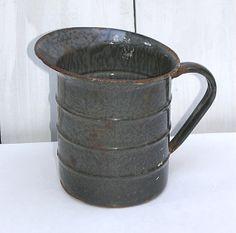 1900 Gray Agateware Graniteware Pitcher Grey by KickassStyle, $22.00