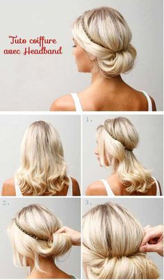 >> Retour en page 2 11/ Testez une coiffure chicavec un headband: Placez votre bandeau sur votre tête comme vous le souhaitez. Prenez le bas de votre chevelure et retroussez-la en forme d'escargot pour venir la coincez dans le headband. Terminez en fixantplusieurs pinces afin que votre coiffure reste stable pendant 24h. 12/ Un chignon …