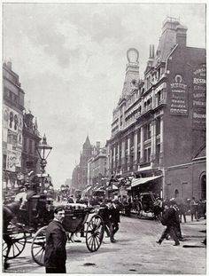 A busy street scene on Tottenham Court Road c. The Horseshoe Hotel can be seen on the right Canvas Print Framed, Poster, Canvas Prints, Puzzles, Photo Gifts and Wall Art Victorian Street, Victorian Life, Victorian London, Victorian Photos, Vintage London, Old London, North London, London History, British History