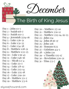 Be sure to check out our Bible reading plan for December! This month we will focus on the birth of Jesus our King.