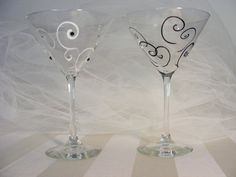 .glass painted martini glass