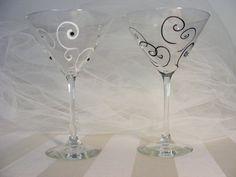 .glass painted martini glass