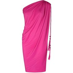 Womens Mini Dresses Lanvin Pink Draped One-shoulder Crepe Dress ($1,120) ❤ liked on Polyvore featuring dresses, ruched mini dress, short dresses, short pink dress, pink one shoulder dress and pink cocktail dress
