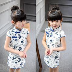 2016 Kids Girl Dress Sleeveless Floral Girl Dresses Child Chinese traditional Costume Chi-pao Cheongsam Baby Clothes Qipao 239(China (Mainland)) ebay 7.24