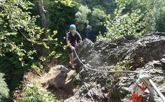 Climbing via ferrata - Climbing in amazing nature. Rappelling, Czech Republic, Amazing Nature, Climbing, Hiking Boots, Adventure, Mountaineering, Adventure Movies, Adventure Books